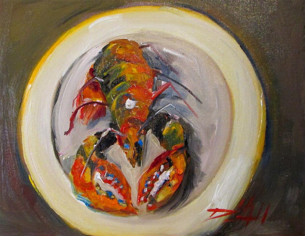 """Lobster on a Plate"" original fine art by Delilah Smith"