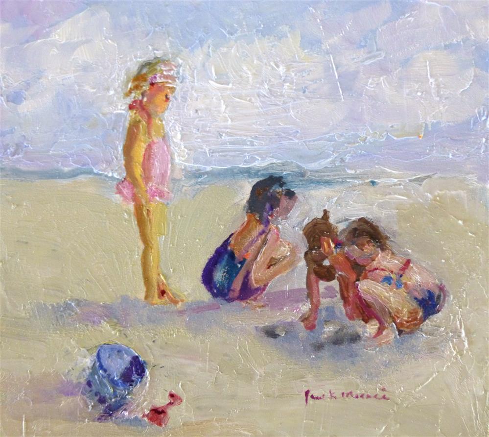 """Little Girls at Laguna Beach"" original fine art by Jane Morac'E"