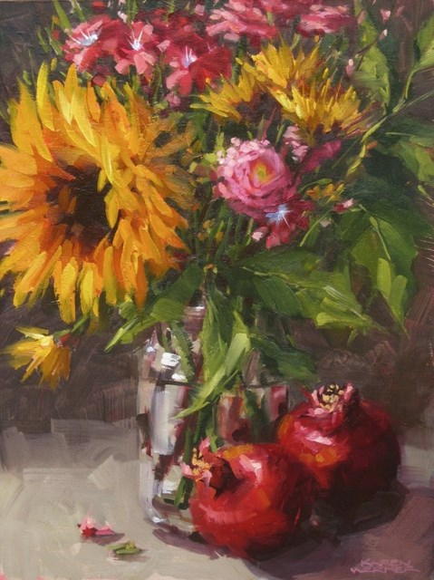 """Sunflower With Poms"" original fine art by Karen Werner"