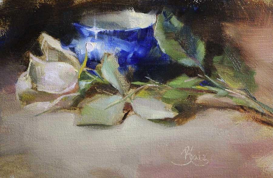 """White Rose and Flow Blue"" original fine art by Pamela Blaies"