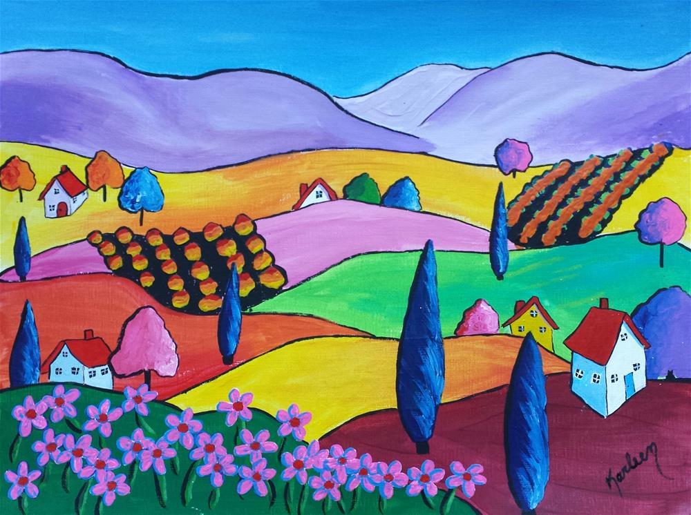 """Colorful Countryside"" original fine art by Karleen Kareem"