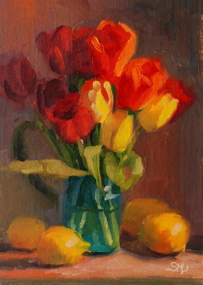"""No. 576 Tulips on a Fence at NIght"" original fine art by Susan McManamen"