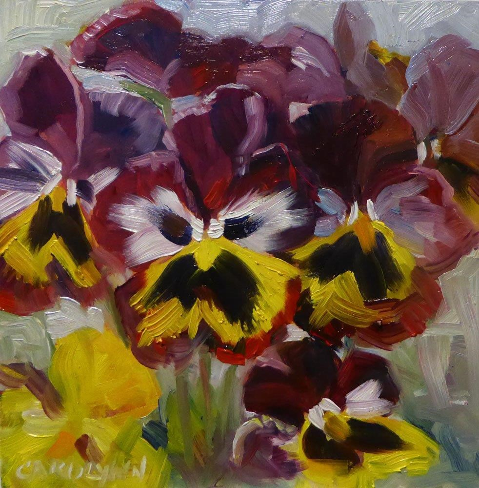 """Pansies - floating in time."" original fine art by Carolynn Doan"