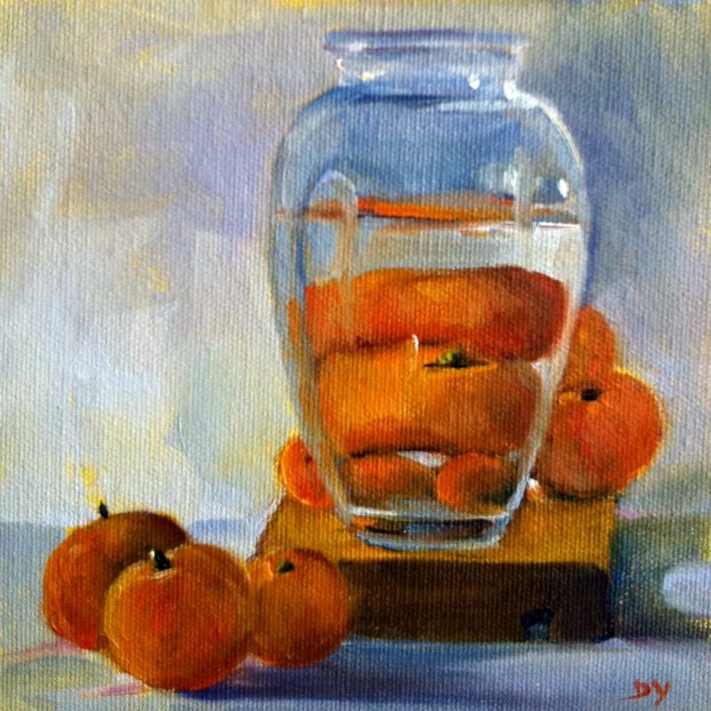 """""""Whose There?, oil on canvas board, 6x6"""" original fine art by Darlene Young"""