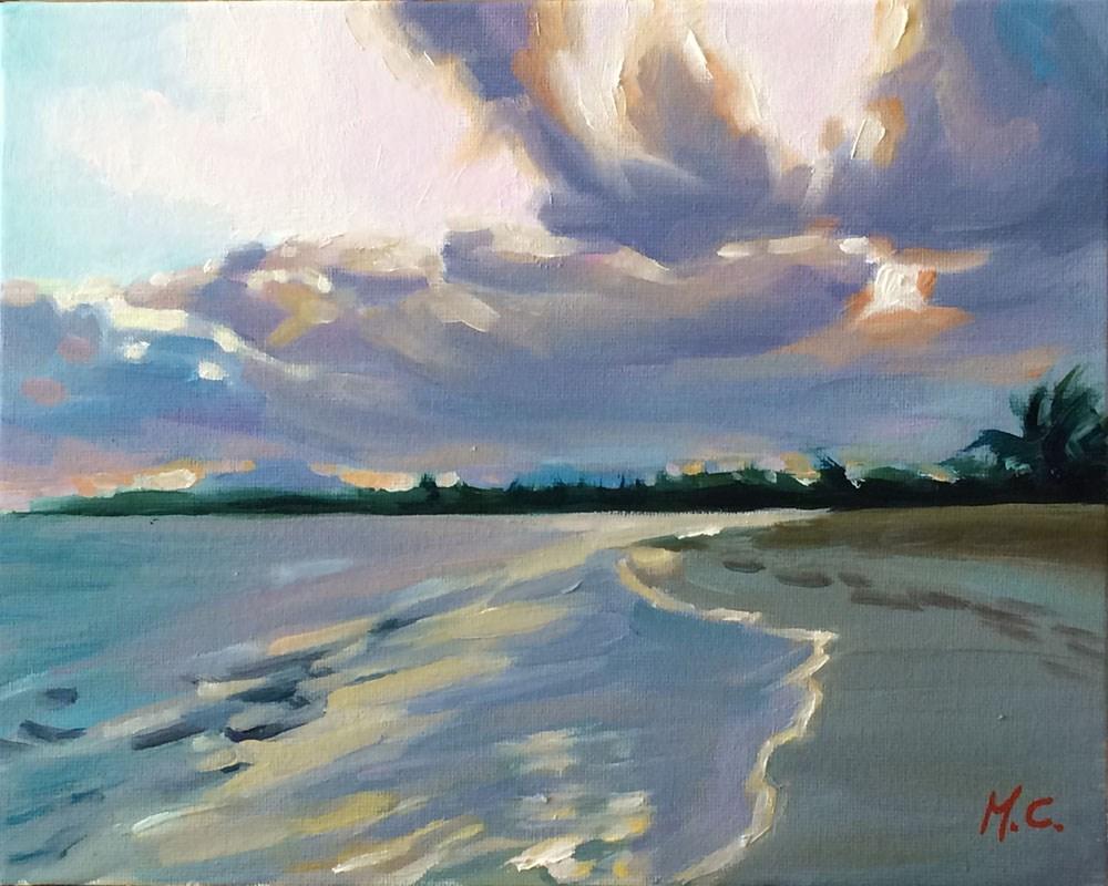 """""""Sunset beach"""" original fine art by Michelle chen"""