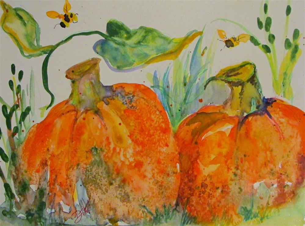 """Two Pumpkins"" original fine art by Delilah Smith"