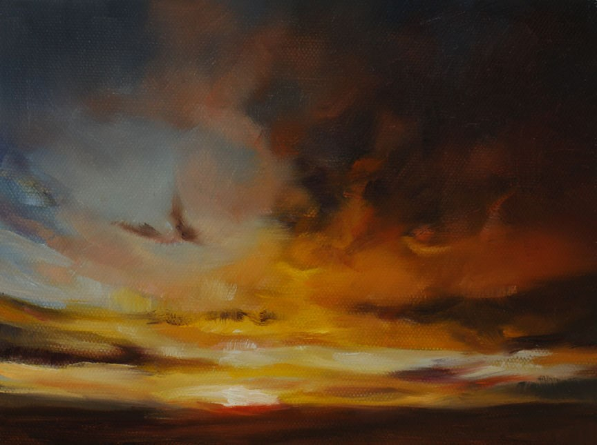 """Prairie Sunset Sky (framed)"" original fine art by Pamela Poll"