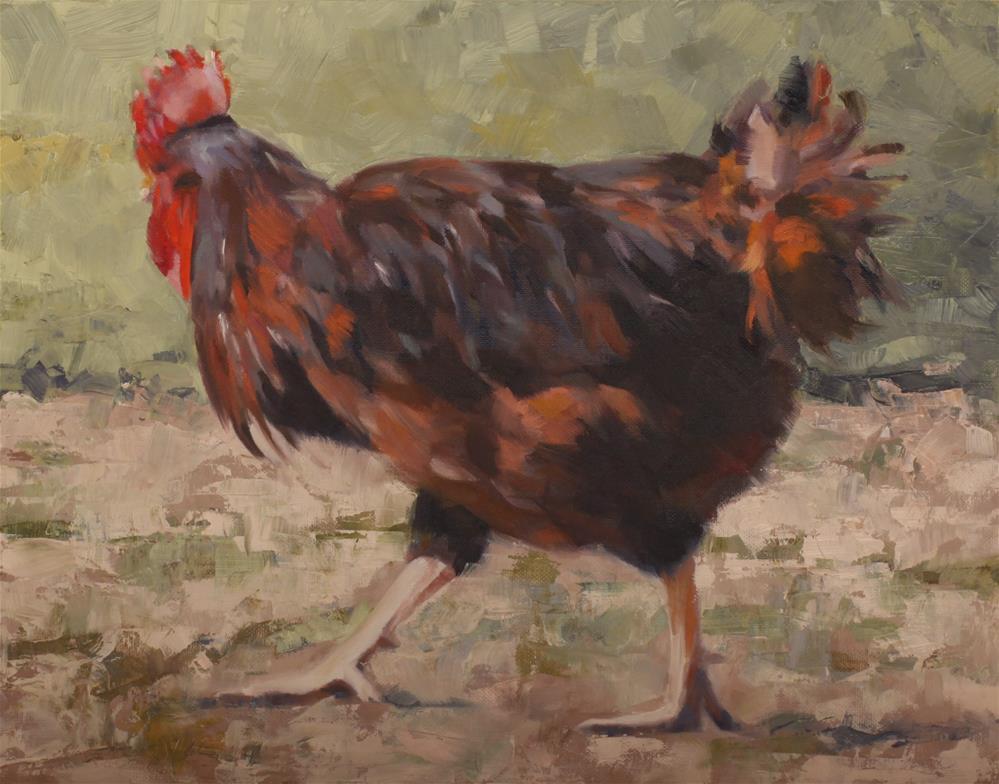 """Rooster on the Run"" original fine art by Pamela Poll"
