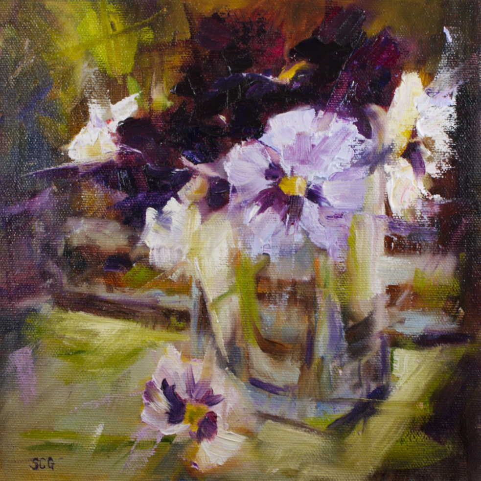 """Pansy Study"" original fine art by Sue Churchgrant"