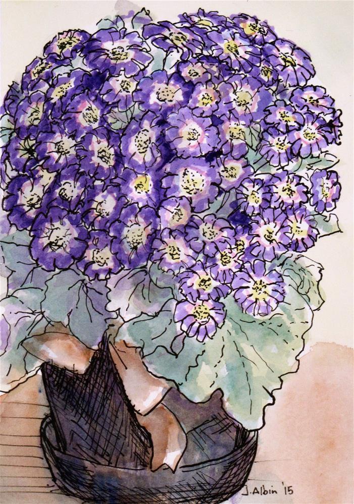 """""""Purple Posies"""" original fine art by Jane Albin"""