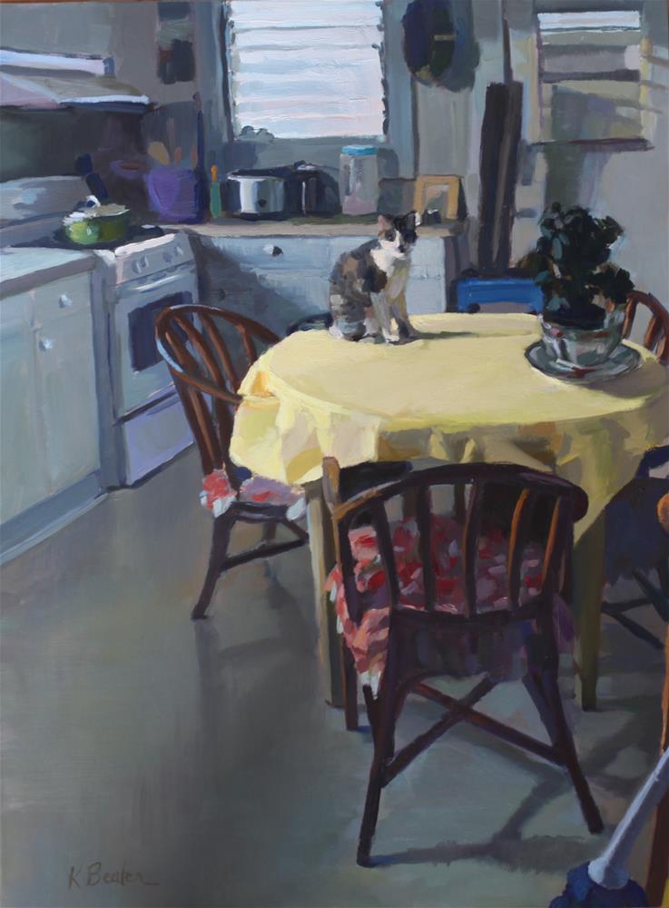 """""""Cat on the Table"""" original fine art by Kaethe Bealer"""