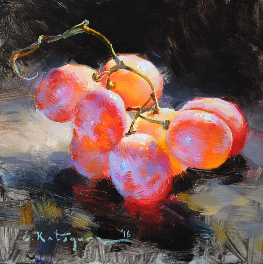 """Red Grapes"" original fine art by Elena Katsyura"