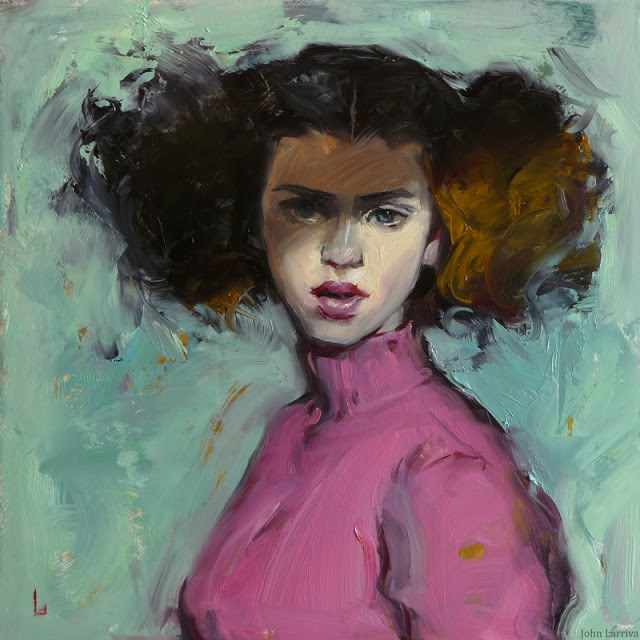 """Pink Turtleneck"" original fine art by John Larriva"