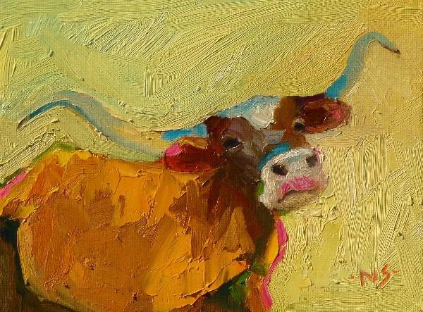 """Texas Longhorn 13013 SOLD"" original fine art by Nancy Standlee"