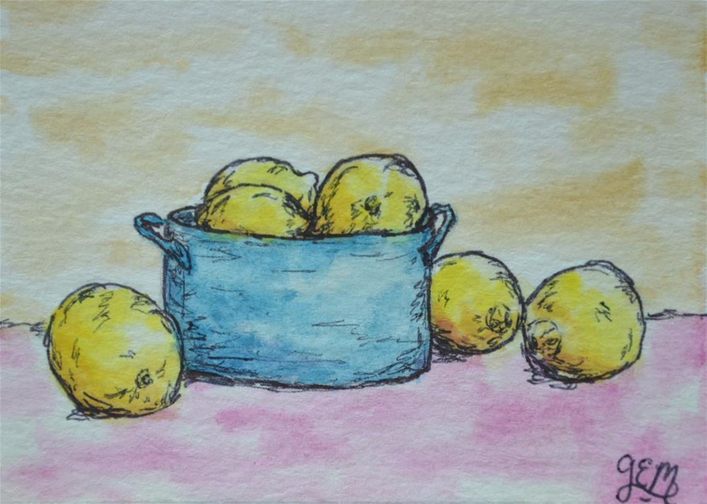 """Lemon Bowl Watercolor ACEO"" original fine art by Gloria Ester"