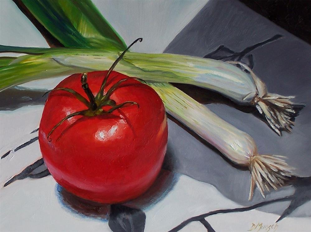 """Tomato  and Scallions"" original fine art by Donna Munsch"