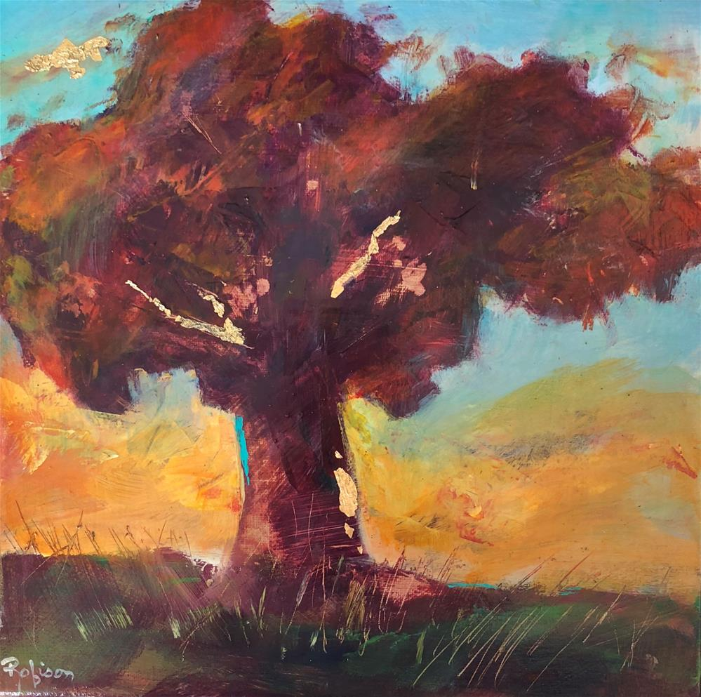 """Oak in the Fall Sunset"" original fine art by Renee Robison"