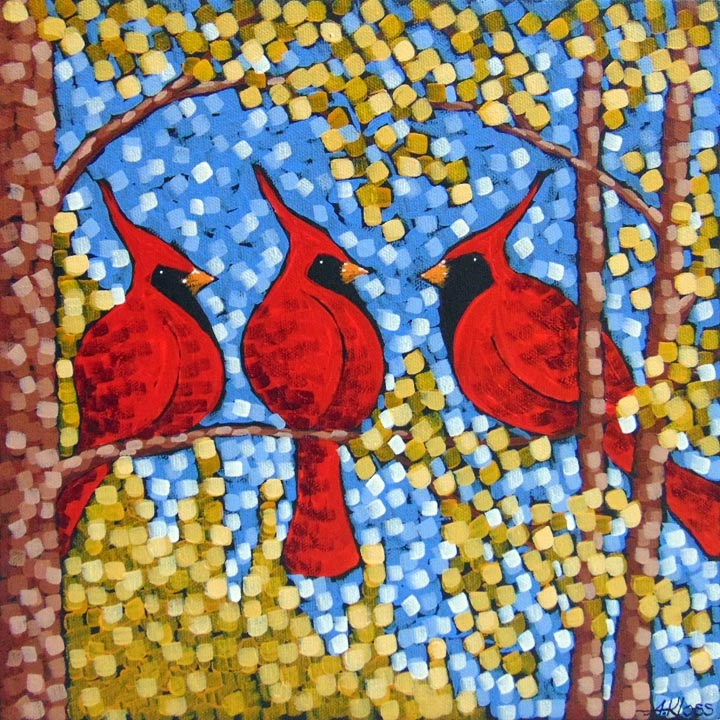 """Cardinals in Gold"" original fine art by Aaron Kloss"