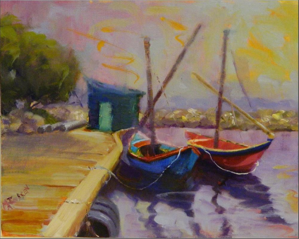 """Van Goghs Boats, 8x10, oil, Vincent Van Gogh, French Boats, empaths, highly sensitive personaliti"" original fine art by Maryanne Jacobsen"