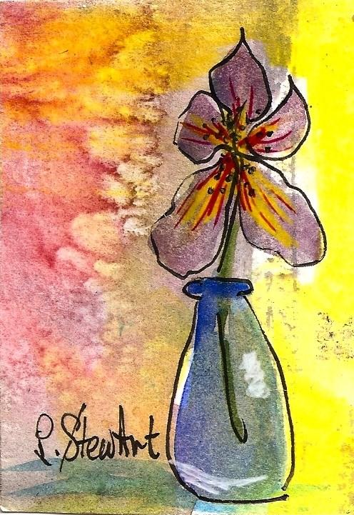 """""""ACEO, Purple Iris in a Milk Bottle Acrylic, Pen & Watercolor Mixed Media OOAK"""" original fine art by Penny Lee StewArt"""