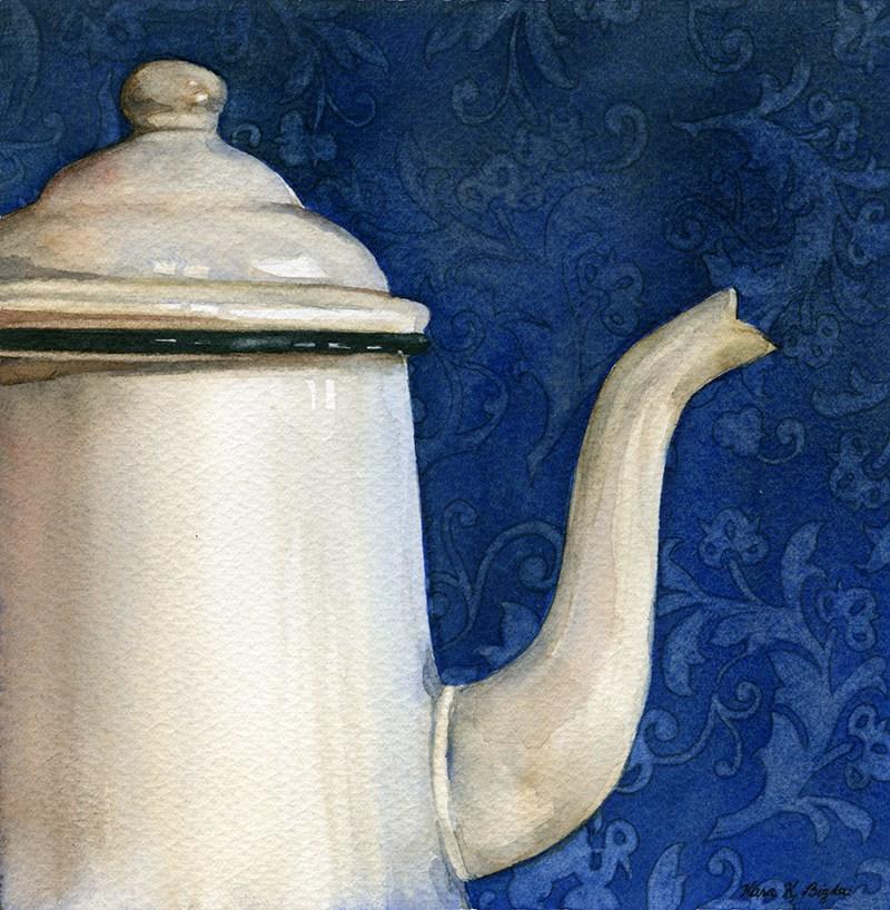 """Enamel Coffee Pot"" original fine art by Kara K. Bigda"