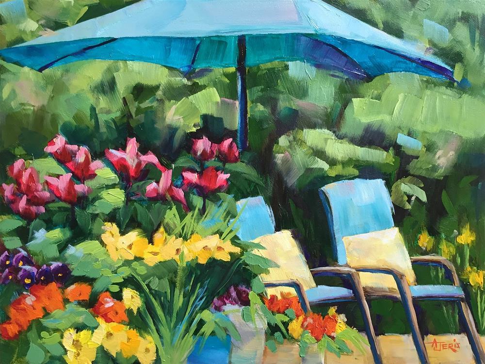 """""""Let's Sit on the Deck"""" original fine art by Andrea Jeris"""
