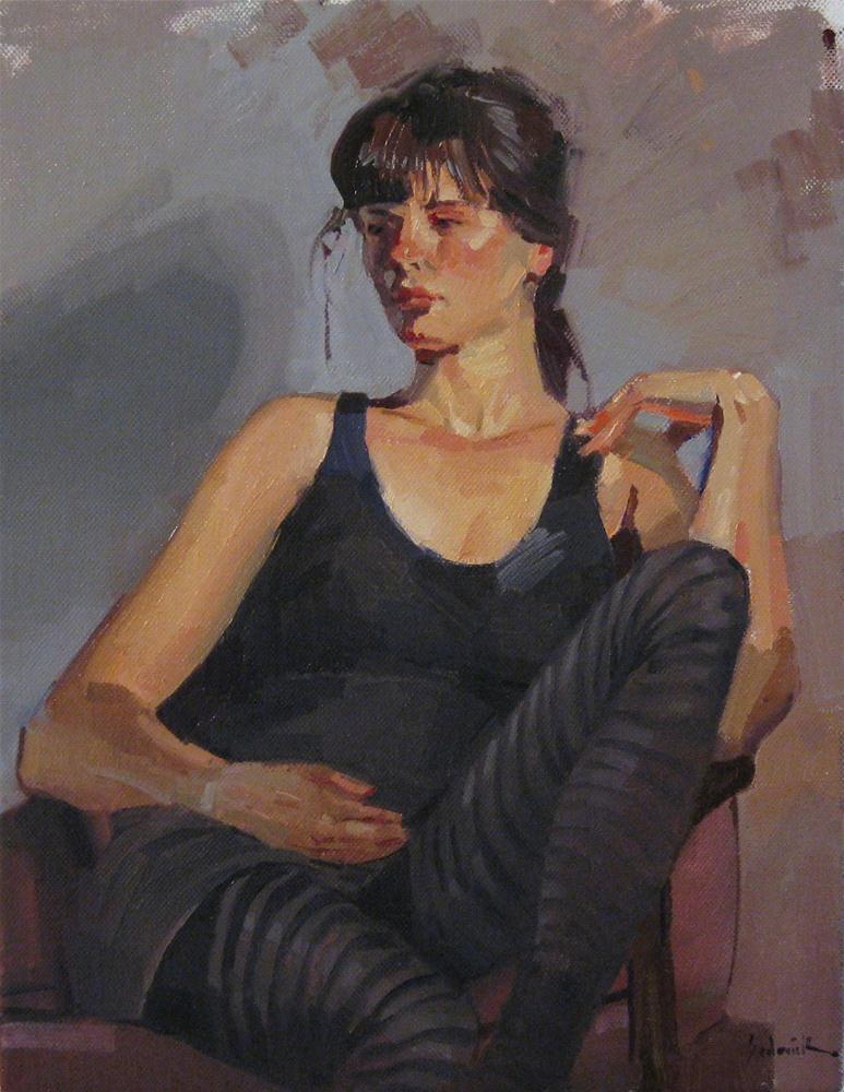 """The Striped Leggings female figure portrait painting woman girl fine art"" original fine art by Sarah Sedwick"