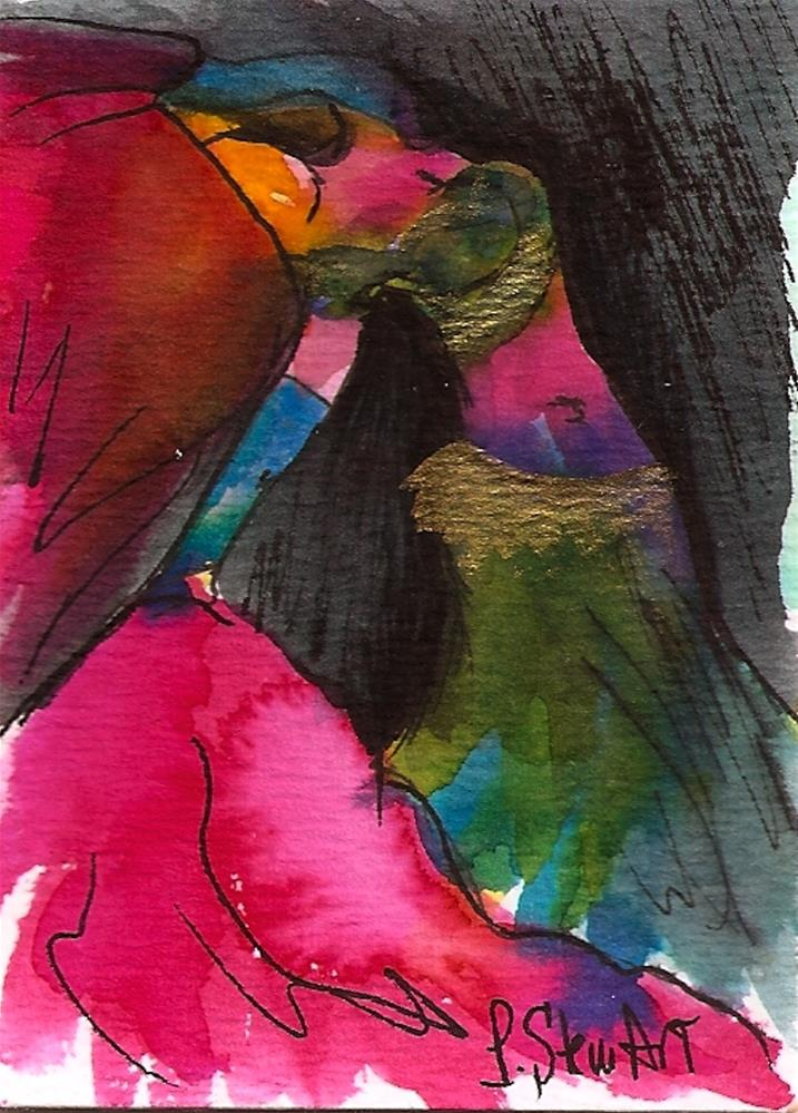"""""""ACEO Bellydancer #23, Watercolor and Pen, Bright Colors, with Pink Veils"""" original fine art by Penny Lee StewArt"""