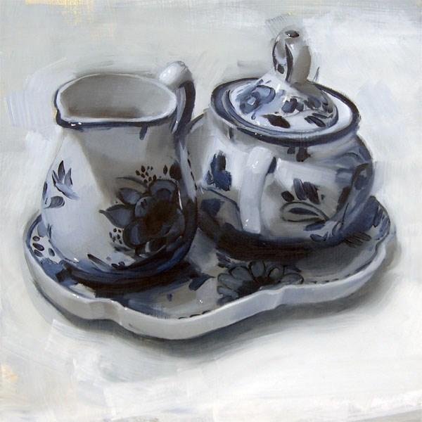 """""""Delftware Creamer and Sugar (no.59)"""" original fine art by Michael William"""