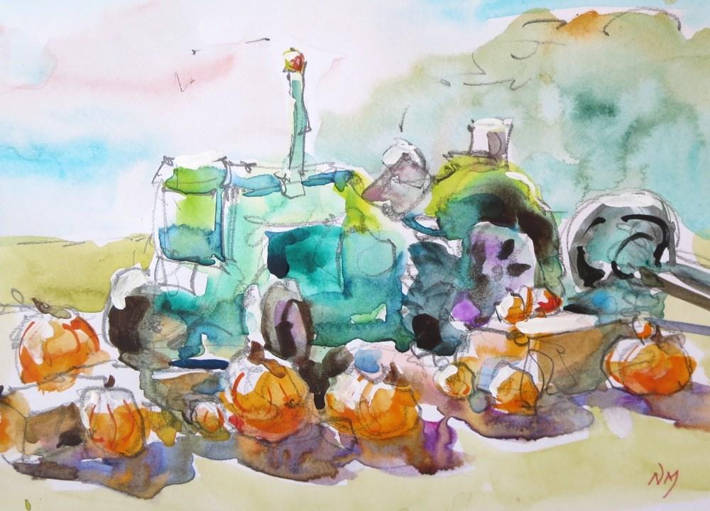 """pumpkin pals"" original fine art by Nora MacPhail"