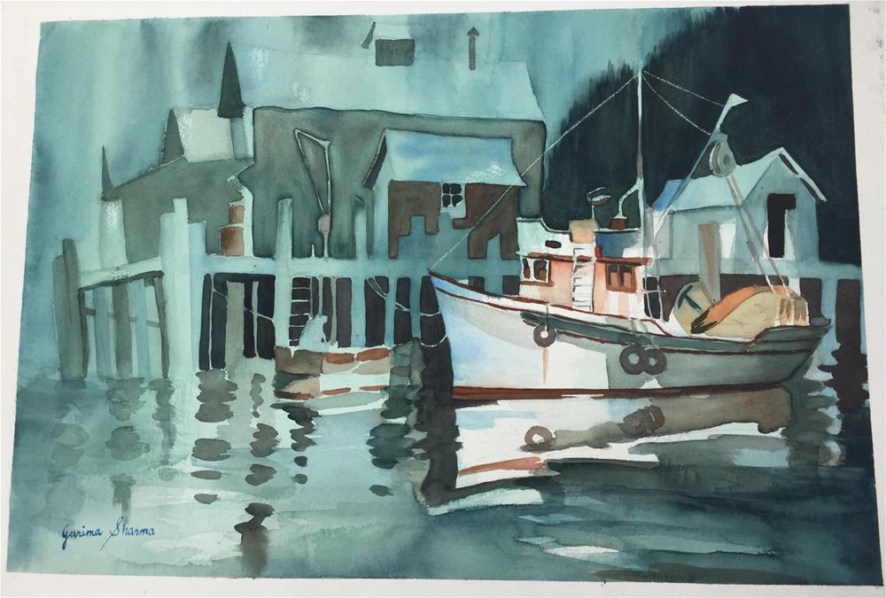 """Foggy Harbor"" original fine art by Garima Heath"