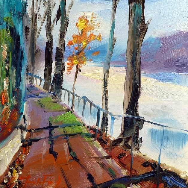 """Am Fluss entlang"" original fine art by Jurij Frey"