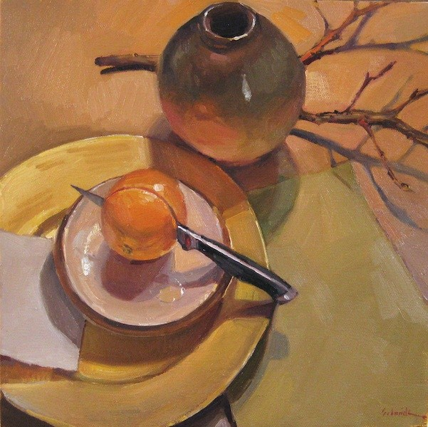 """Cutting In still life original oil painting on canvas orange knife plate"" original fine art by Sarah Sedwick"