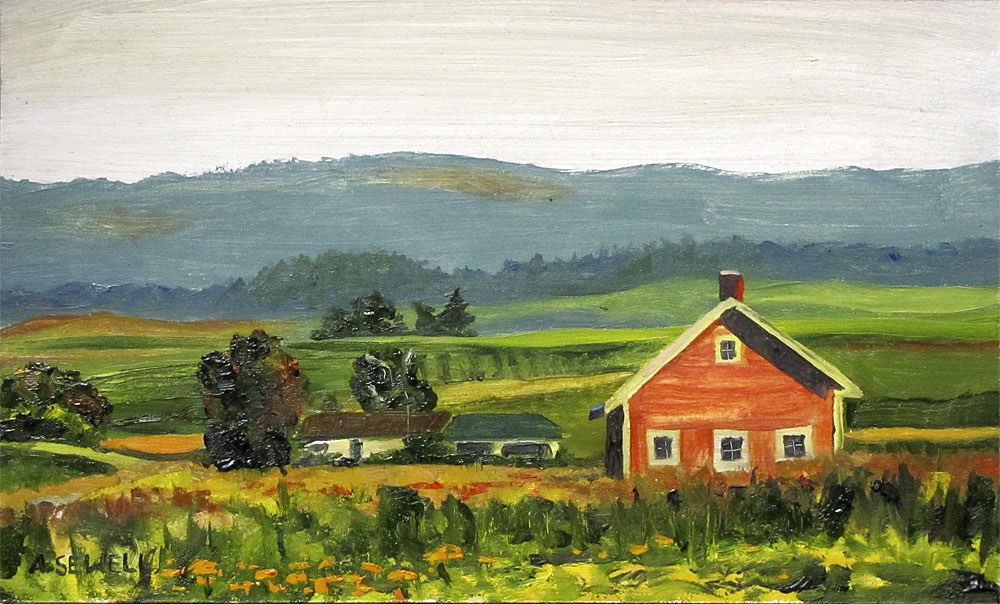 """""""Zinnias in the Pasture"""" original fine art by Andy Sewell"""