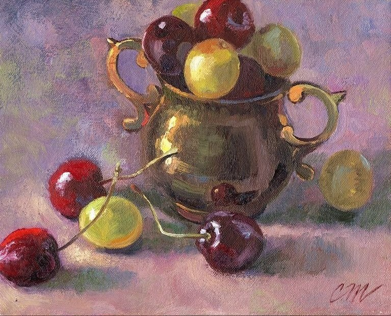 """Cherries & Grapes"" original fine art by Connie McLennan"