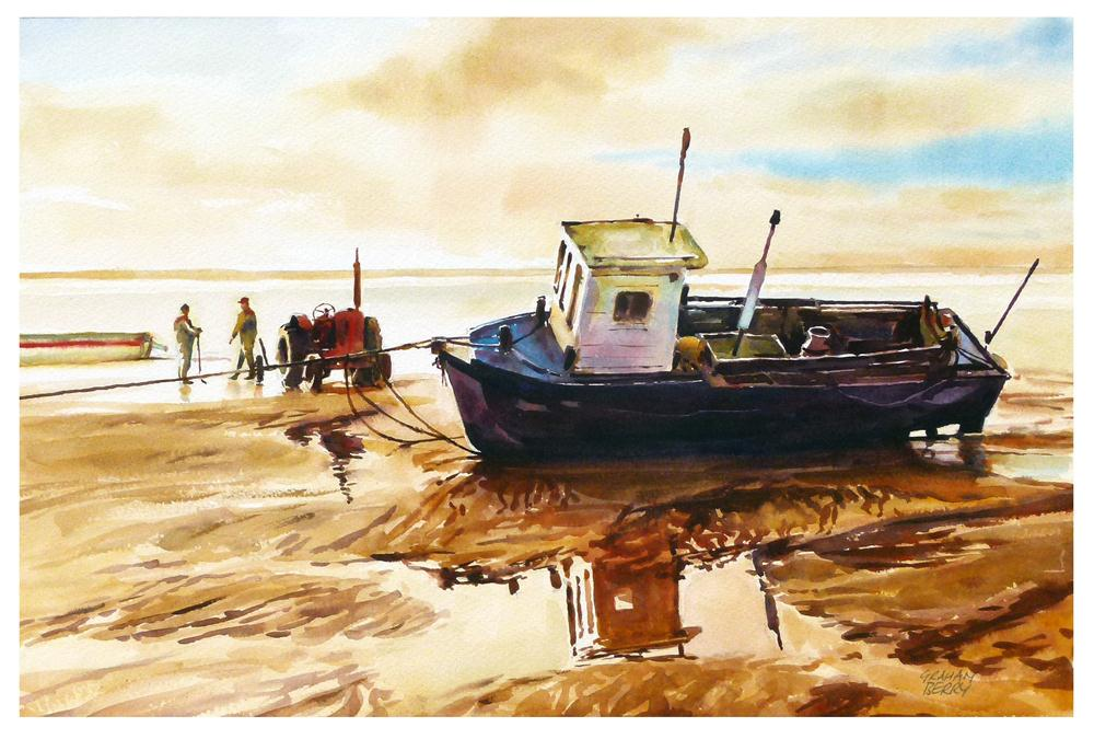 """""""Red tractor and boat."""" original fine art by Graham Berry"""