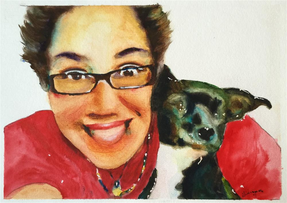 """My Sister and Her Dog"" original fine art by Juan Velasquez"