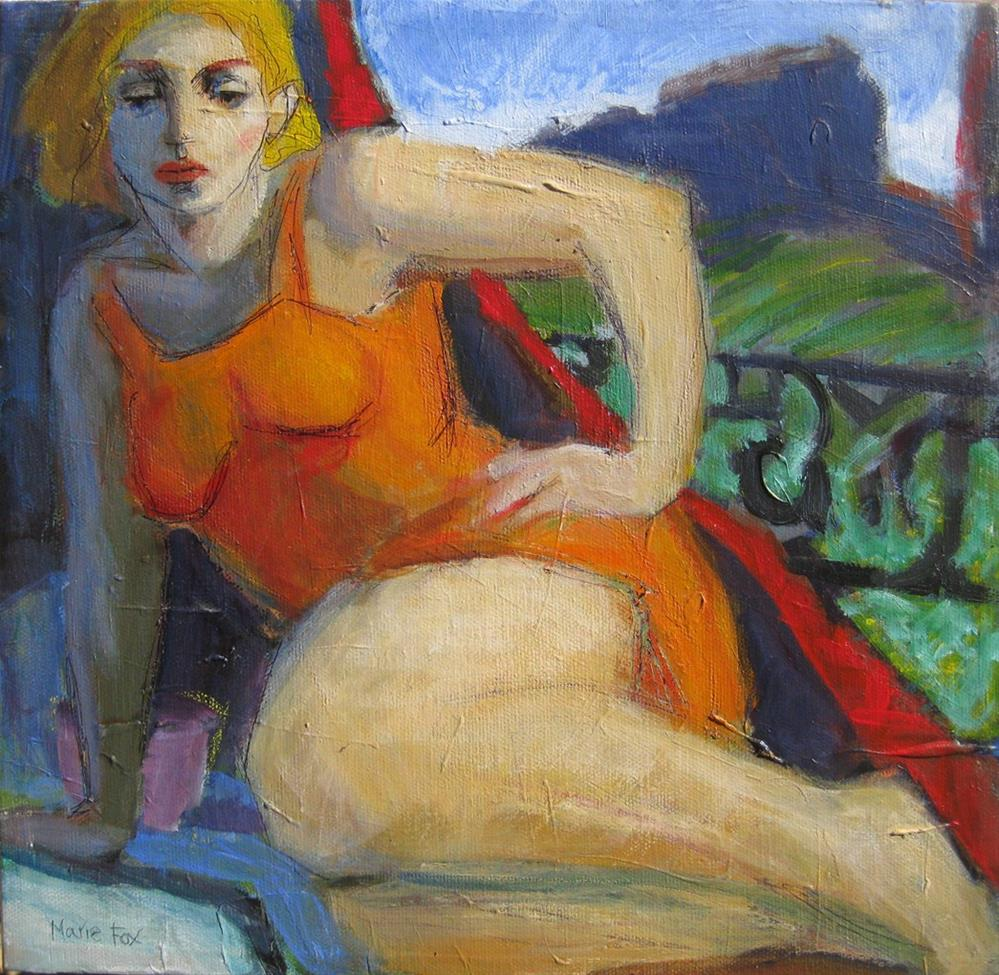 """""""Out West, woman in New Mexico, figurative female, woman painting women, mountain woman, contemporary"""" original fine art by Marie Fox"""
