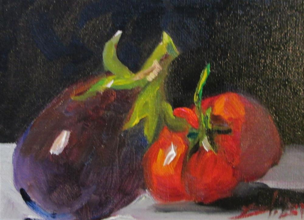 """Eggplant and Tomato"" original fine art by Delilah Smith"