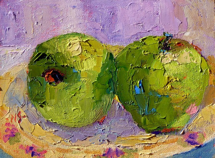 """Green Apple Sunday 13005 donated"" original fine art by Nancy Standlee"