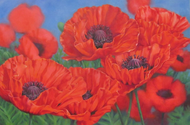 """Poppy Party (SOLD)"" original fine art by Barbara Fox"