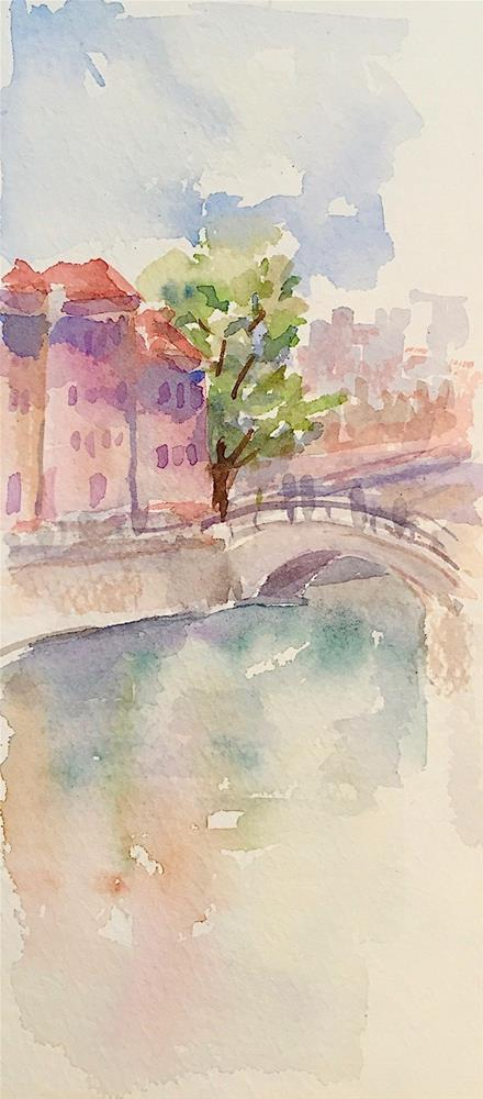 """Delft Canal, sketch"" original fine art by Judith Freeman Clark"