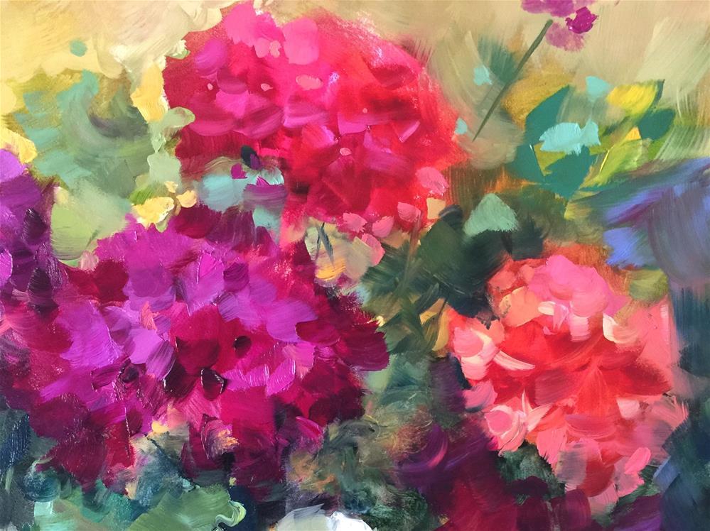 """Future Bloomers Geranium Garden"" original fine art by Nancy Medina"