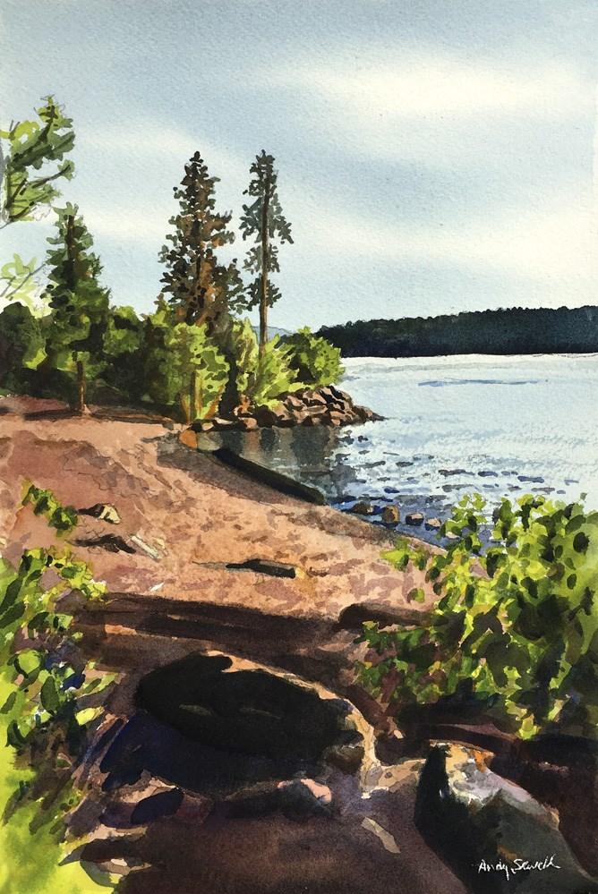 """Coeur d' Alene Tubbs HIill Beach"" original fine art by Andy Sewell"