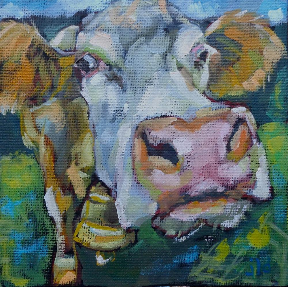 """""""Cow 105 For whom the bell tolls"""" original fine art by Jean Delaney"""