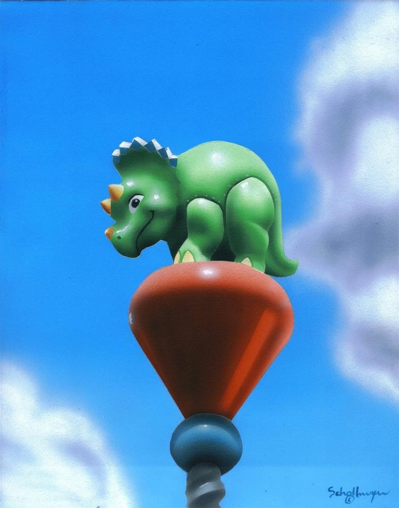 """""""Dino Fun"""" original fine art by Fred Schollmeyer"""