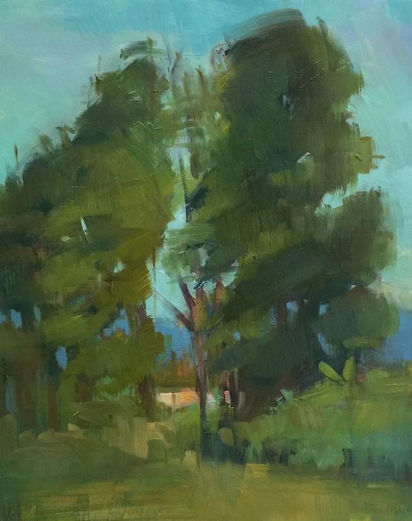 """Amazon Bark Trail Trees"" original fine art by Patti McNutt"