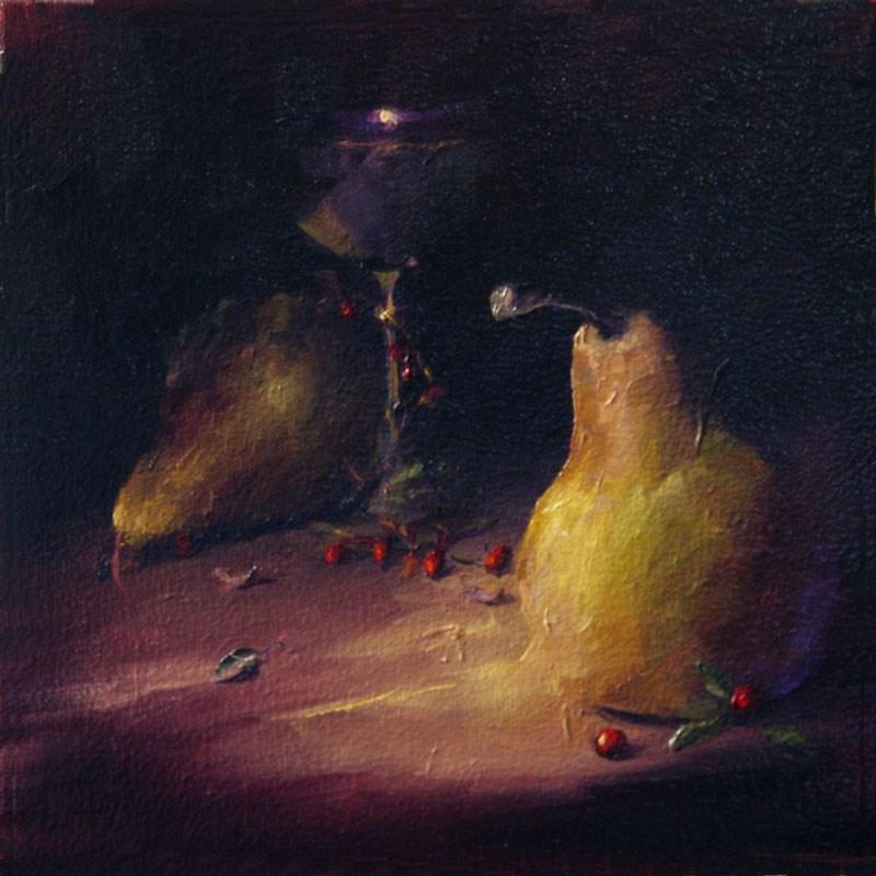 """Pear 5 Cheers"" original fine art by Lori Twiggs"