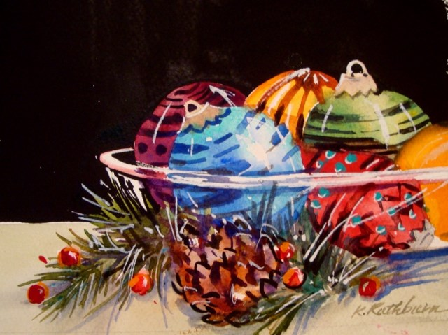 """Bowl Full of Ornaments"" original fine art by Kathy Los-Rathburn"