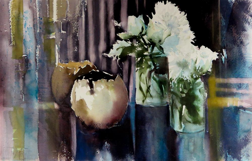 """Still Life with White Flowers"" original fine art by Christa Friedl"